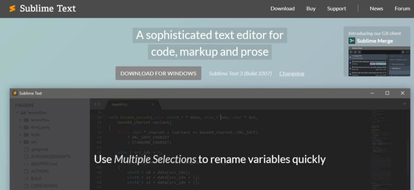 Sublime Text Homepage